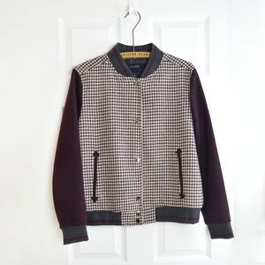 Burgundy Classic Checked Houndstooth Bomber Jacket